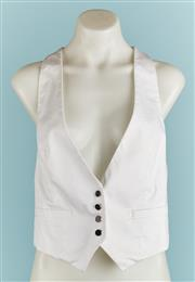 Sale 9071F - Lot 65 - A CLUB MONACO BUTTON UP VEST; in white with black buttons to front, size M