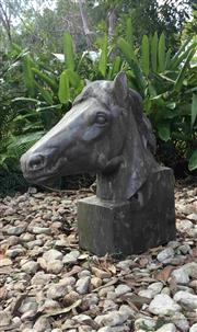 Sale 9080G - Lot 38 - Large Carved Genuine Stone Horse Head Sculpture .General wear, slight Chippings. Size: 50cm H x 45cm Front to Back .