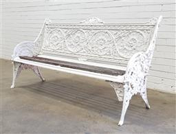 Sale 9126 - Lot 1060 - Coalbrookdale Style Cast Iron Garden Bench, possibly period, in the horse chestnut pattern and painted white, with timber slats (h:9...