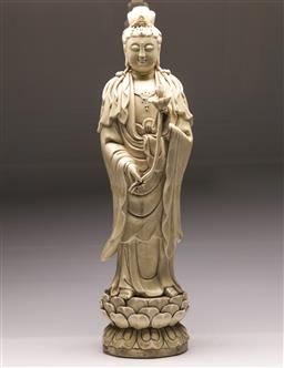 Sale 9122 - Lot 204 - A Large Chinese Blanc-de-Chine Standing Guanyin (H:72cm)