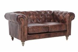 Sale 9140F - Lot 92 - 2 Seat Chesterfield Sofa with top grain distressed brown waxed leather, light cherry wood leg and brass studs Dimensions: W163 x D63...