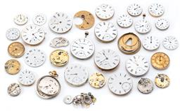 Sale 9164J - Lot 512 - A COLLECTION OF WATCH MOVEMENTS DIALS AND PARTS; assorted sizes, mainly Waltham, sizes 25 - 45mm.
