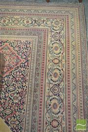 Sale 8267 - Lot 1052 - Early Machine Woven Persian Style Carpet, with concentric central medallion & in cream, pink & black tones  310 x 410 cm (some wear)