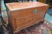 Sale 8317 - Lot 1016 - Chinese Rosewood Chest, the hinged lid carved with birds amongst branches