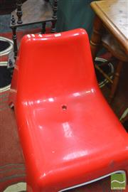 Sale 8326 - Lot 1702 - Two Pairs of Retro Pool Chairs in Red & White