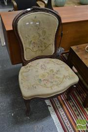 Sale 8444 - Lot 1028 - Louis XV Style & Possibly Period Carved Fruitwood Side Chair, with floral tapestry upholstery & cabriole legs