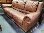 Sale 8480 - Lot 1068 - Leather 3 Seater Lounge (stained)