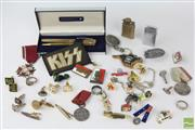 Sale 8529 - Lot 175 - Sheaffer Pen/ Pencil Set, Lighters, Polish Medals, Badges and Gents Jewellery incl Silver