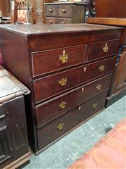 Sale 8774 - Lot 1084 - Late Georgian Provincial Oak & Mahogany Banded Chest of Five Drawers, with bone escutcheons (missing feet). Width: 103 cm