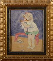 Sale 8882H - Lot 57 - SEAN L HUDSON XX - Girl Playing with Doll SLL