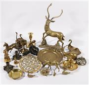 Sale 9007 - Lot 86 - A Large Brass Figure of A Deer (H 40cm) Together with A Collection of Various Brass wares