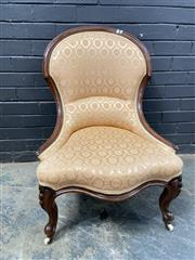 Sale 9048 - Lot 1089 - Victorian Walnut Ladys Chair, upholstered in a cream diaper fabric, raised on cabriole legs (H:87 W:62 D:60cm)