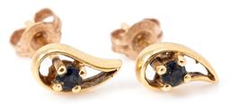 Sale 9132 - Lot 333 - A PAIR OF 18CT GOLD GEMSET STUD EARRINGS; drop shape frames each set with a small round cut dark blue sapphire, length 8mm, wt. 1g.