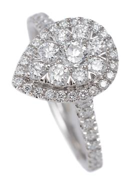 Sale 9123J - Lot 198 - A 10CT WHITE GOLD DIAMOND CLUSTER RING; pear shape top centring a 9 round brilliant cut diamond cluster to surround and upswept shou...