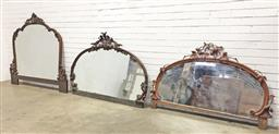 Sale 9126 - Lot 1213 - Collection of 3 Victorian mirrored credenza backs (from left to right in photo h:143.5 x w:163; h:109 x w:164; h:97 x w:158cm)