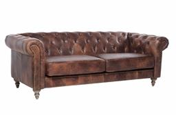 Sale 9140F - Lot 93 - 3 Seat Chesterfield Sofa with top grain distressed brown waxed leather, light cherry wood leg and brass studs Dimensions: W218 x D63...