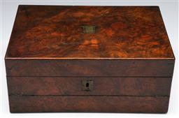 Sale 9138 - Lot 155 - A Victorian Mahogany Fitted Writing Slope (H: 15cm W:35cm D:25cm)