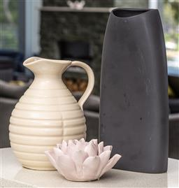 Sale 9162H - Lot 218 - A group of three ceramic items including jug, vase and tealight holder