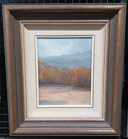 Sale 9155 - Lot 2020 - Kevin Oxley Lowtide oil on canvas board, frame: 44 x 49 cm, signed lower right -