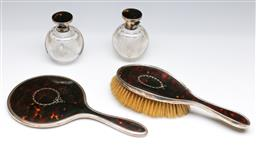 Sale 9175 - Lot 31 - A Sterling Silver and Tortoise Shell Resin Dressing Table Suite
