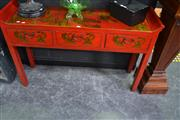 Sale 8066 - Lot 1003 - Red Chinese Elevated Sideboard