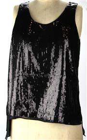 Sale 8087B - Lot 320 - TWO CARLA ZAMPATTI SEQUINNED SILK TOPS; with black and gilt sequins, size 8