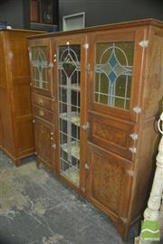 Sale 8331 - Lot 1010 - Deco Leadlight Front Kitchen Cabinet