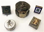 Sale 8436A - Lot 59 - A group of five hinged miniature boxes including two silver examples.