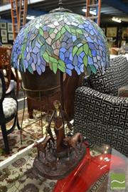Sale 8489 - Lot 1015 - Large Bronze Style Lady and the Hound Table Lamp