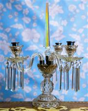 Sale 8577 - Lot 42 - An antique 1920s Czech cut crystal 3 branch candelabra with tall crystal centre finial & embellished with long crystal pendants - C...