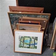 Sale 8645 - Lot 2088 - Group of (9) Assorted Artworks incl: original paintings by EM Evans, Early C20th countryscape watercolour, and framed decorative pri...