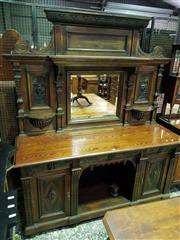 Sale 8653 - Lot 1030 - Good Late 19th Century Australian Carved Oak Sideboard, by Walker, Sons & Bartholomew, Sydney, the mirror back with shelves & carved...