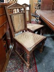Sale 8817 - Lot 1094 - Assembled Set of Four Antique English Colonial Fruitwood Chairs, with slightly different back designs, all with caned back and seats...