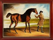 Sale 8908H - Lot 15 - ARTIST UNKNOWN, C19th Irish School - Horse and Groom image size 44.0 x 63.0cm