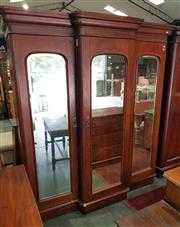 Sale 8956 - Lot 1004 - Late 19th Century Cedar Breakfront Wardrobe, with three mirror panel doors, enclosing a fitted interior. (H:219 x W:200 x D:73cm)