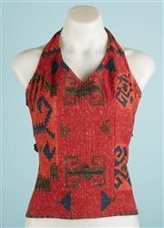 Sale 9071F - Lot 21 - A LILIRIS BY LARA AGNEW HALTERNECK TOP; in  red orange and black,  size S