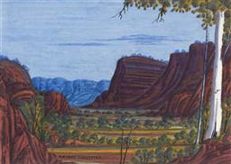 Sale 9150 - Lot 576 - RICHARD FORRESTER - MacDonnell Ranges 31 x 43.5 cm (frame: 55 x 65 cm)