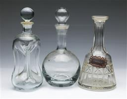 Sale 9098 - Lot 268 - Group of Three Decanters incl. Holmegaard (H28cm), Visla & another (missing stopper)