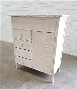 Sale 9102 - Lot 1187 - Vintage wicker bound chest of drawers (H:110 W:94 D:45cm)