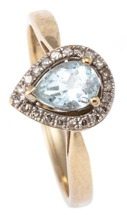 Sale 9124 - Lot 340 - A 9CT GOLD AQUAMARINE AND DIAMOND RING; a cluster centring a pear cut aquamarine of approx. 0.60ct to a halo of single cut diamonds,...