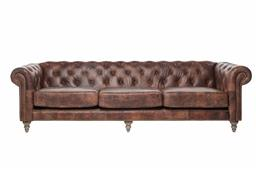 Sale 9140F - Lot 94 - 4 Seat Chesterfield Sofa with top grain distressed brown waxed leather, light cherry wood leg and brass studs Dimensions: W268 x D63...