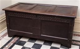 Sale 9190H - Lot 22 - Oak Georgian coffer, the hinged lid over two recessed panels, Height 58cm x Width 128cm x Depth 61cm