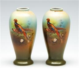Sale 9255S - Lot 53 - A pair of small porcelain bud vases with bird decorations Height 15cm