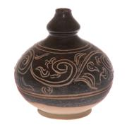 Sale 8132B - Lot 449 - Black glazed water dropper with incised decoration.
