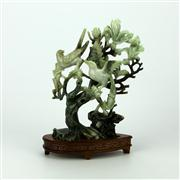 Sale 8162 - Lot 61 - Jade Carved Magpie Figure Group