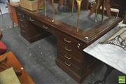 Sale 8404 - Lot 1063 - Timber Partners Desk with Twin Pedestal Base