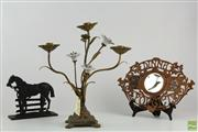 Sale 8568 - Lot 33 - Brass And Ceramic Candelabrum, Horse Doorstop And Carved Dinna Forget Plaque