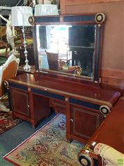 Sale 8566 - Lot 1418 - Inlaid Mirrored Back Dressing Table with Ebonised and Gilt Trim