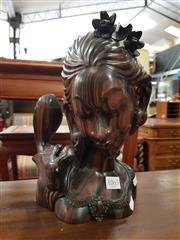 Sale 8700 - Lot 1065 - Balinese Carved Bust of a Lady and Bird by K Moclock