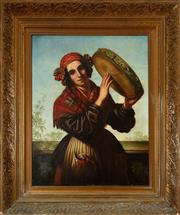 Sale 8882H - Lot 22 - ITALIAN SCHOOL C19TH - Woman in Traditional Costume playing Tambourine